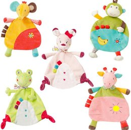 Wholesale Towels For Newborn Babies - 5style Baby Soft Towel donkey rabbit frog monkey elephant Comfort Appease Plush Rattles Toy for newborn gift