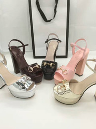 Wholesale Hot Sexy High Heels - Luxury Brand 4 colors Sexy Women Chunky High Heel sandals with top quality leather wedding party shoes Platform pumps 2017 hot selling shoes