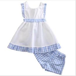 Wholesale Short Enfant - 2017 Girls Childrens Clothing Sets Plaid Dresses Shorts 2Pcs Set Summer Sleeveless Princess Dress Kids Enfant Boutique Clothes SH009