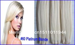 Platin brasilianisches reines haar online-# 60 Platinum Blonde 1 Teile / los Gerade Brasilianische Remy Haarwebart Bundles, 7A Grade Unverarbeitetes Reines Brasilianisches Haar
