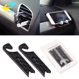 Wholesale Smartphone Grip - Universal 2pcs set Car Air Vent Cord Winder Grip Clip Hook Phone Stand Holder For Smartphone USB Charging Cable Keychain earphone glasses