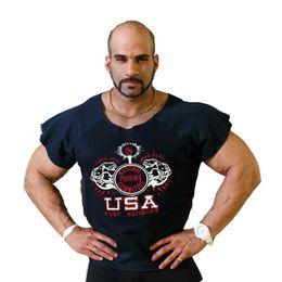 Wholesale Modal Cotton Loose Shirts - Wholesale- NPC Men Fitness Rag Top Bodybuilding Gymwear T-shirt Male Clothing Cotton Loose Short Sleeve Black Gray Size M L XL