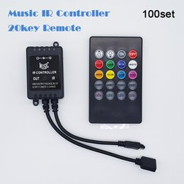 Wholesale Music Sound Sensor Led Light - 100sets 20 Key Remote Controller Black Color Music IR Controller Sound Sensor For 3528 5050 RGB LED Light Strip Free shipping