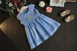 Wholesale Embroidered Tank Dress - INS Baby Girls Denim Blue Dresses Kids Embroidered Floral Princess Dress Flower Preppy Style Dress Newborn Children Toddler Tank Sundress