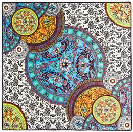 Écharpes en soie en Ligne-Gros-100 cm * 100 cm Euro marque chinois foulards bleus et blancs italien palais rétro grand foulard en soie sergé écharpe châle carré 3135