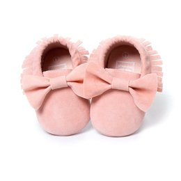 Wholesale Baby Girl Babywear - Wholesale- Baby Girl Shoes Handmade Bow Suede Infant moccasins Newborn First Walker Soft Toddler Shoe Hot Sale Babywear