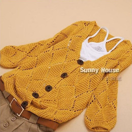 Wholesale Oversized Yellow Sweater - Wholesale-free shipping Women Korean plus size cute hollow loose button knitted V-neck cardigan sweater jacket female oversized sweater