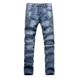 Wholesale New Jeans Designs For Men - Wholesale-Fashion Men Jeans New Arrival Design Slim Fit Fashion biker Jeans For Men Good Quality stretchy pants Blue Black trousers
