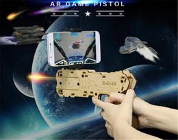 Wholesale Wood Toy Guns - AR GUN Wood Gift AR DEVICES Hello AR gun for phone game Birthday gift Children Toy 3D VR Game Shooting Gun Outdoor sports Indoor Sport