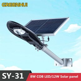 Wholesale 12v Led Cob Panel Lights - Wholesale- 2015 NEW Super bright 16V 12W solar panel power 8W COB LED street lamp 800LM Outdoor waterproof path light Ray+Time control