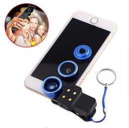 Wholesale Iphone 4s Leads - 4in1 LED Filling Light Flash with Wide Angle Macro Fisheye Lens Mobile Phone Lenses For iphone 4 4s 5 5s 5c SE 6 6s 7 Plus