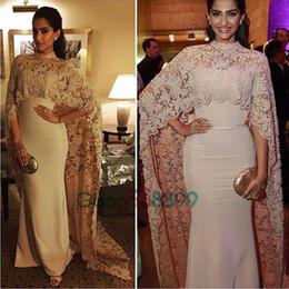 Wholesale Islamic Satin Caps - Sonam Kapoor in Paolo Sebastian High Neck Dubai Kaftan nude Lace Cape Muslim Evening Dress 2017 Islamic Arabic long sleeve prom Formal Gown
