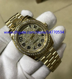 Wholesale Diamond Hand Bracelets - Mens Arrival High Quality Watch Asia 2831 Movement Yellow Gold 36mm DAY-DATE Full Bezel bracelet Full Diamond Dial Automatic watches