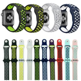 Wholesale Cheap Smart Watches - 42mm 38mm S L size cheap rubber Silicone Colorful wrist band for Apple Watch bands Strap Sports Bracelet for apple iwatch Series 2&1