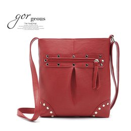 Wholesale Cheap Small Envelopes - Wholesale-2015 candy color pu leather brands handbags cheap rivet small casual bolso vintage purse crossbody bags for women shoulder bag