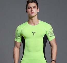 Wholesale Bodybuilding T Shirts Mens - 2017 New Bodybuilding Fitness Gyms Clothing Mens Short Sleeve T Shirt Elasticity Gyms Compression Tops Tight Tee S-XXL