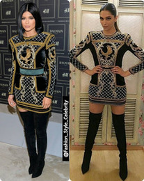 Wholesale 2017 Long Sleeve High Neck Short Dress Kylie Jenner Shows Support Prom Dresses The Oscars Celebrity Dresses Red Carpet Women Evening dresses