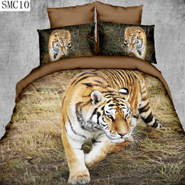 Wholesale Tiger Animal Print Bedding - Wholesale- high definition lion tiger leopard pattern design 3d series bedding set queen size include pillowcase duvet cover bed sheet