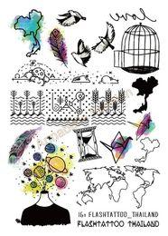 Wholesale Temporary Glitter Tatoo - Wholesale- A6080-203 Big Black tatuagem Taty Body Art Temporary Tattoo Stickers Rainbow Freedom Birds Paper pigeon Glitter Tatoo Sticker
