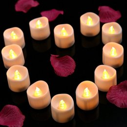 Wholesale Wholesale Flicker Tea Lights Candles - 12pcs lot Realistic Bright Flickering Tea Light Led Electronic Candle Battery Operated Flameless Candles for Valentine Party Celebration