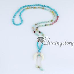 Wholesale Tibetan Buddhist Pendants - crescent moon necklace mala bead necklace tibetan buddhist prayer beads necklaces mantra meditation beads healing yoga spitritual jewelry