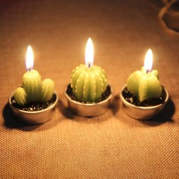 Wholesale Interior Gifts - Cactus Scented Candle Green Meat Plant Home Interior Scent Candles Romantic Green Candle Tea Light Candles Mini Lovely Gift XL-354