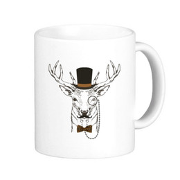 Wholesale Pottery Animals - Wholesale- British Style Gentle Beard Deer With Glass Hat Bow Animal Classic Mug White Pottery Ceramic Cup Milk Coffee With Handles 350 ml