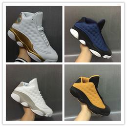 promo code 29a52 ddbea Venta al por mayor nueva 13 Low Navy azul chutney trigo negro amarillo DMP  oro blanco MEN zapatos de baloncesto deportes zapatillas de deporte tamaño  8-13