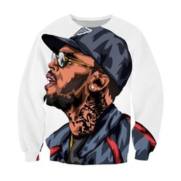 Wholesale Thin Cartoon Characters - Wholesale-Alisister Harajuku style Chris Brown cartoon character sweatshirt jumper sweatshirt 3d cartoon hoodies pullovers outerwear
