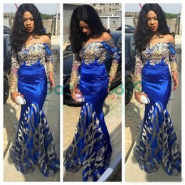 african white lace styles Promo Codes - Royal Blue Mermaid Prom Dresses 2019 Nigeria Long Sleeve Evening Dress Aso Ebi Style Appliqued Off Shoulder African Formal Gowns