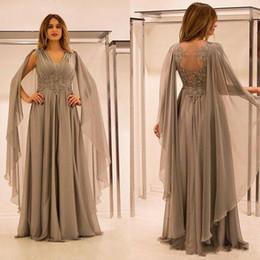 2019 vestido de noite linha personalizada Elegante Dubai árabe mãe cinza dos vestidos de noiva Chiffon Lace até o chão Vestidos de uma linha Evening Wear Custom Made vestido de mãe vestido de noite linha personalizada barato
