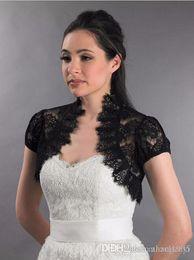 2019 casacos de organza bolero nupcial Lace Bolero Casacos para Vestidos de Noite Black Bridal Jackets Cap Mangas Lace Noiva Encolhe Capes Partido Wraps Frete Grátis