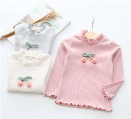 Wholesale Double Collar Top - Kids T-shirt fashion girls stripe bows pompon princess tops children double ruffle collar pullover new girl autumn clothing T4297