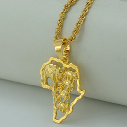 Wholesale Ethiopian Jewelry - Map of Africa Necklace 24K Gold Plated Elephant African Map Pendant Necklace Women Men Ethiopian Jewelry Congo Nigeria #014306