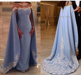 Wholesale Satin Cloak Red Lining - 2016 Arabic Lace Beaded Evening Dresses Sheer Neck Satin Sheath Prom Dresses With A Cloak Formal Party Gowns