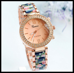 Wholesale Double Diamond Watches - The new Geneva double row diamond ceramic alloy watch printing female foreign trade watch manufacturer wholesale high quality