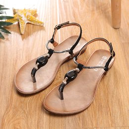 Wholesale Nude Diamond Shoes - HEYIYI Women's Sandals Flat Thong Shoes Open Toes Flip Sandals Diamond Summer PU Leather Shoes T-Strap Ladies Shoes