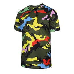 Wholesale Bright Shorts - Bright Yellow Camouflage t shirt for Men Top Tee Casual Hip Hop Shirts Summer Outdoor Beach T-shirt Zipper Clothing BL-017