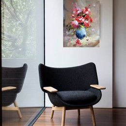 Wholesale Hand Painted Big Flowers - Yi Le Mai Frameless Pure Hand Painted Modern Home Design Wall Decoration Artist Knife Oil Paintings on Canvas Big Flower in Blue Bottle