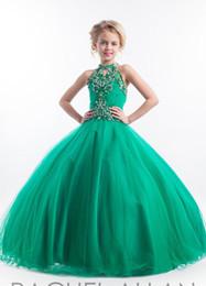 Venda quente bonito vestido de baile Halter mangas Vestidos Pageant Para Little Girls de Primera Vestidos Da Menina de Flor Verde de Fornecedores de vestido de melancia, vestidos, meninas