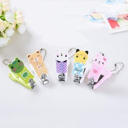 Wholesale Clippers Infant - Cute Cartoon Baby Nail Clipper Cute Infant Finger Trimmer Scissors Baby Nail Care With Hanging Function Keychain