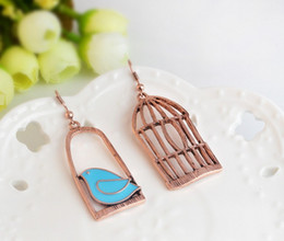 Wholesale Bird Cage Earrings - Vintage Jewelry Rose Gold Plated Irregular Oil Bird Cage Drop Earrings For Women Gifts Dangle Earring