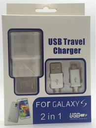 Wholesale Charger Set Kit Micro Usb - 2 in 1 charger kits 2A 2000mA US EU plug Home Wall Chargers MINI USB Adapter + MICRO USB DATA Charger CABLE with retail For SAMSUNG 100 set