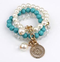 Wholesale European Beads Cream - Bohemia Style Turquoise Bracelets Women Alloy Pendant Elastic Bracelets 6 Colors Cream Pearl Beads Bracelets 3 Rows Girls Lovely Bracelet