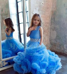 Wholesale Party Frocks For Baby Girls - Cloud Little Flower Girls Dresses for Weddings Baby Party Frocks Real Image Luxury Girls Pageant Dress Kids Prom Dresses Evening Gowns 2017