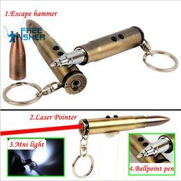Wholesale Bullet Shaped - 4 in 1 Multifunction Bullet Shaped Pen Survival EDC Laser+Light+Life-Saving Hammer+Ballpoint Self Defense Camping kit
