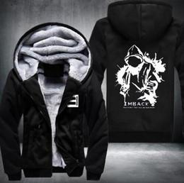 Wholesale Usa Coatings - Wholesale- New Winter Warm Cotton Fleece Eminem Hoodie Fashion Thick Zipper Men's cardigan Jackets and Coats 16 Styles USA Size fast ship 5