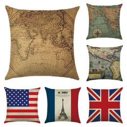 Wholesale Maps Covers - Cotton&Linen Cushion Pillow Cases Flag and World Map Cushion Covers 45*45cm Chair Pillow Case Creative Colorful Cover Decorative Pillows