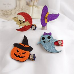 Wholesale Glitter Clips - 30pcs Fashion Cute Felt Halloween Girls Hairpins Solid Kawaii Glitter Ghost Bat Pumpkin Cat Hallowmas Hair Clips Party Headware A7176