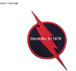 Wholesale 3 quot REVERSE FLASH SUPERHERO DC Comic Movie TV Series Costume Embroidered iron on sew On patch Tshirt TRANSFER MOTIF APPLIQUE
